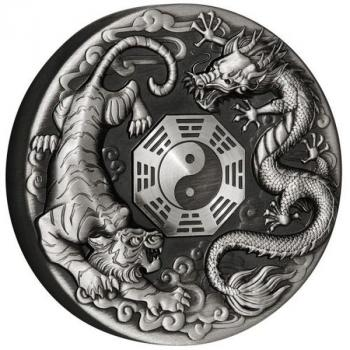 Tuvalu Dragon and Tiger with Bagua 2021 2oz Silver Antiqued Coin Silber