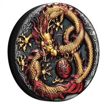 Tuvalu 2 $ Dollar Golden Imperial Dragon coloured High Relief 2 Oz Silber antique Finish 2020