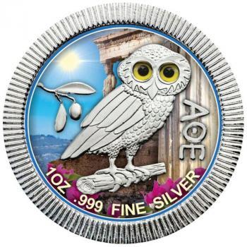 Niue - Eule von Athen - Tag - in Farbe 1 Oz Silber 2020 Silver coloured Design