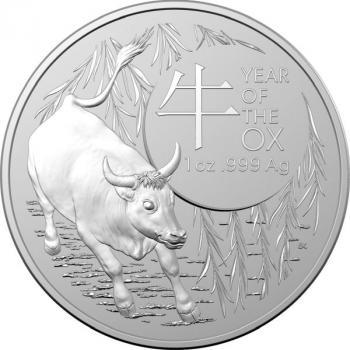 Australien Lunar Year of The Ox RAM 1 Oz Silver 2021