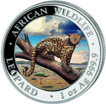 Somalia 100 Sh Leopard 1Oz Silber 2021 farbig/colored Silver