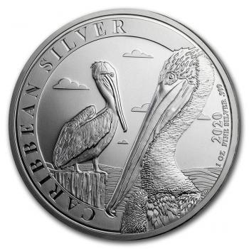 Barbados 1 $ Dollar Karibischer Pelikan 1 Oz Silber  2020
