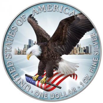 USA American Eagle Silver 1 Oz Typ II in Farbe/color 2021