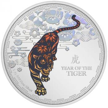 Lunar III Year of the Tiger 1 Oz Silver 2022 Silber PP