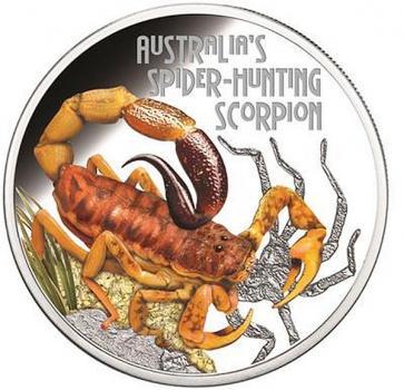Tuvalu 1 $ Dollar Deadly & Dangerous Spider Hunting Scorpion Skorpion 1 Oz Silber PP 2014