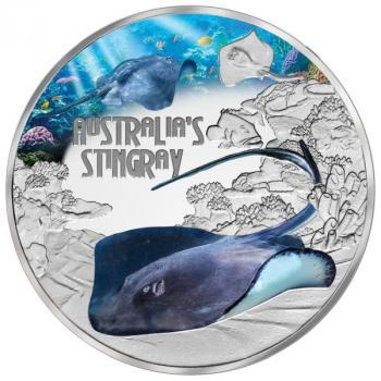 Tuvalu 1 $ Dollar Deadly & Dangerous Stingray Stachelrochen 1 Oz Silber PP 2021
