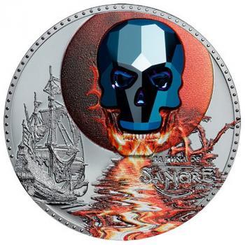 Equatorial Guinea - Crystal Skull -  Luna de Sangre - 1000 Francs - 2019  -1 Oz Silber
