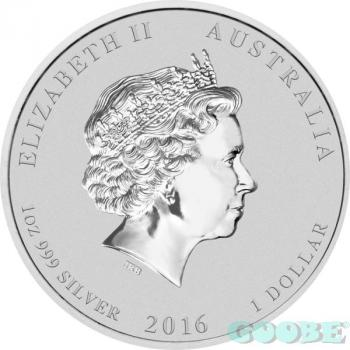 Mobile Preview: Australien Lunar II Affe 1 Oz Silber farbig/coloured 2016