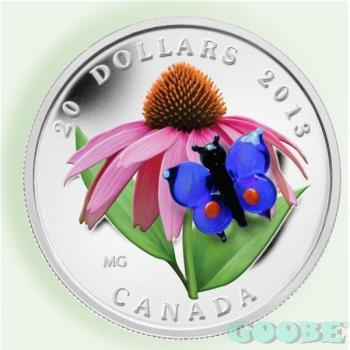 Kanada 20 Dollar Purple Coneflower with Venetian Glass Butterfly 2013
